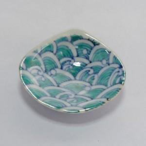 染錦青海波文貝型豆皿