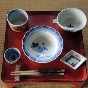 藤吉憲典染付の器、赤絵の器