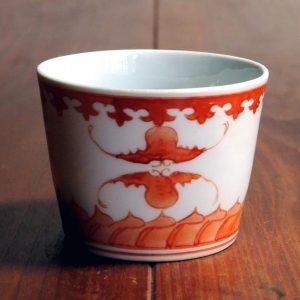 赤絵蝙蝠文蕎麦猪口(藤吉憲典)