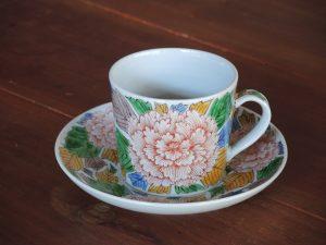 藤吉憲典、錦牡丹文(古九谷調)珈琲碗皿