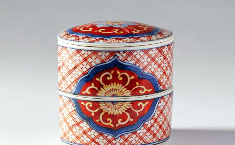 赤絵筒型二段重箱 藤吉憲典