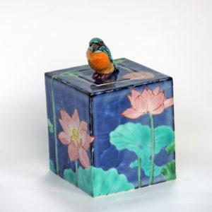 藤吉憲典 蓮にカワセミ陶箱