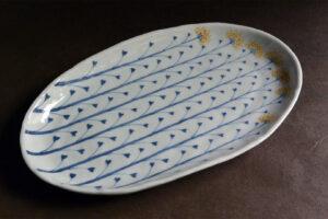 藤吉憲典陶展(桃居)染錦なずな文楕円皿